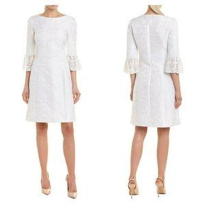 Michael Kors White Brocade Silk Lace Formal Dress